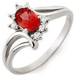 0.70 CTW Pink Tourmaline & Diamond Ring 18K White Gold - REF-33F3N - 10488