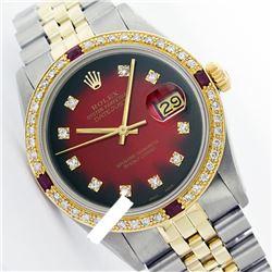 Rolex Ladies Two Tone 14K Gold/SS, Diam Dial & Diam/Ruby Bezel, Sapphire Crystal - REF-440X6Y