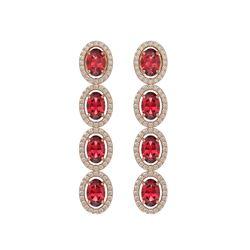 5.88 CTW Tourmaline & Diamond Halo Earrings 10K Rose Gold - REF-121X3T - 40521