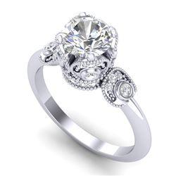 1.75 CTW VS/SI Diamond Art Deco Ring 18K White Gold - REF-398W2F - 36854