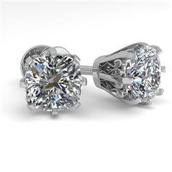 1.0 CTW VS/SI Cushion Cut Diamond Stud Solitaire Earrings 18K White Gold - REF-178A2X - 35676