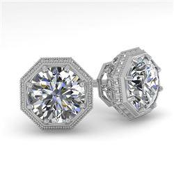 1.0 CTW VS/SI Diamond Stud Solitaire Earrings 18K White Gold - REF-147N3Y - 35949