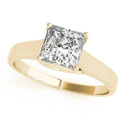 0.75 CTW Certified VS/SI Princess Diamond Solitaire Ring 18K Yellow Gold - REF-207T8M - 28145