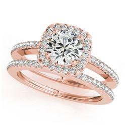 0.92 CTW Certified VS/SI Diamond 2Pc Wedding Set Solitaire Halo 14K Rose Gold - REF-134X9T - 30994
