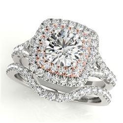 1.67 CTW Certified VS/SI Diamond 2Pc Set Solitaire Halo 14K White & Rose Gold - REF-235W3F - 30698