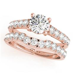1.39 CTW Certified VS/SI Diamond 2Pc Set Solitaire Wedding 14K Rose Gold - REF-215H5A - 32088