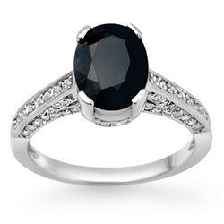 3.50 CTW Blue Sapphire & Diamond Ring 14K White Gold - REF-55N5Y - 11875