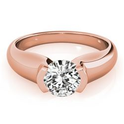 1 CTW Certified VS/SI Diamond Solitaire Wedding Ring 18K Rose Gold - REF-331K4W - 27805