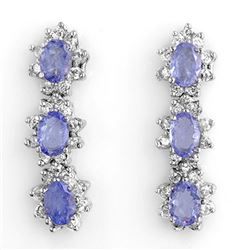 4.38 CTW Tanzanite & Diamond Earrings 14K White Gold - REF-115K3W - 11079