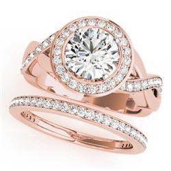 1.84 CTW Certified VS/SI Diamond 2Pc Wedding Set Solitaire Halo 14K Rose Gold - REF-258T2M - 30640