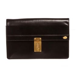 Dunhill Black Leather Lock Clutch Bag