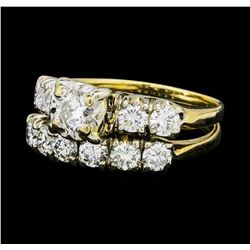 1.40 ctw Diamond Ring & Wedding Band - 14KT Yellow And White Gold