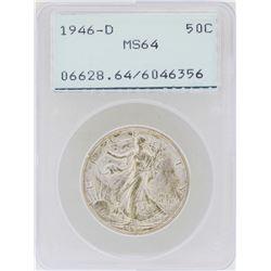 1946-D Walking Liberty Half Dollar Coin PCGS MS64 Green Rattler Holder