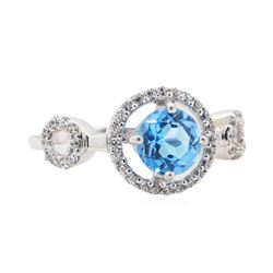 1.5 ctw Blue Topaz Ring - 14KT White Gold