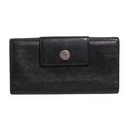 Bvlgari Black Grained Leather Long Wallet