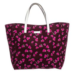 Gucci Burgundy Pink Canvas Leather Girls' Heart Print Tote Bag