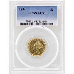 1854 $3 Indian Princess Head Gold Coin PCGS AU53