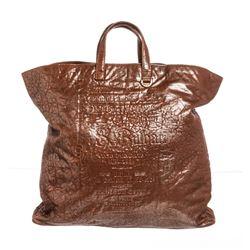 Bvlgari Orange Metallic Textured Leather Tote Handbag