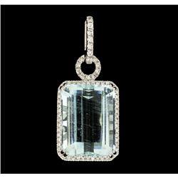 15.42 ctw Aquamarine and Diamond Pendant - 18KT White Gold