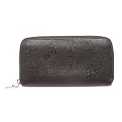 Bvlgari Black Leather Zippy Long Wallet