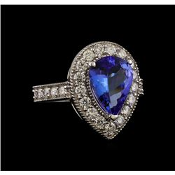 14KT White Gold 3.04 ctw Tanzanite and Diamond Ring