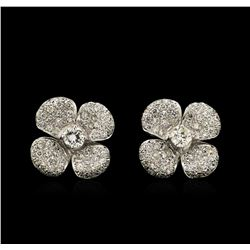 1.98 ctw Diamond Clover Earrings - 18KT White Gold
