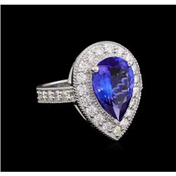 3.30 ctw Tanzanite and Diamond Ring - 14KT White Gold