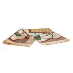 Christian Dior Tan Multicolor Printed Silk Scarf
