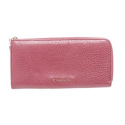 Bvlgari Pink Leather Zippy Long Wallet