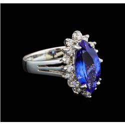 14KT White Gold 2.76 ctw Tanzanite and Diamond Ring