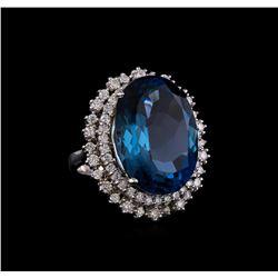 14KT White Gold 22.83 ctw Topaz and Diamond Ring
