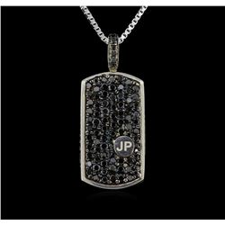 3.00 ctw Black Diamond Pendant With Chain - SILVER