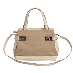 Salvatore Ferragamo Beige Canvas Ivory Leather Shoulder Bag
