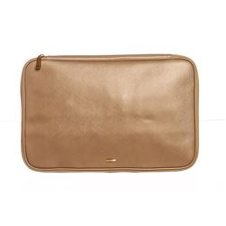 Salvatore Ferragamo Beige Leather Laptop Document Holder