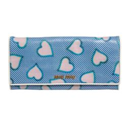 Miu Miu Blue White Dots Pink Hearts Leather Long Wallet