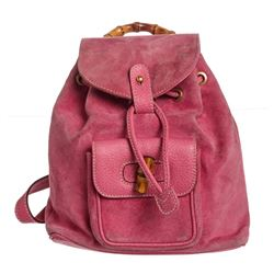 Gucci Vintage Pink Suede Leather Bamboo Backpack