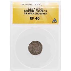 1587 Bohemia Rudolf II AR Maly Groschen Coin ANACS XF40