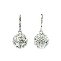 14mm Crystal Pave Bead Earrings - Silver Plated
