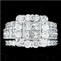 3.90 ctw Diamond Ring Set - 14KT White Gold