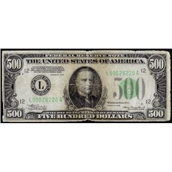 1934 $500 Federal Reserve Note San Francisco