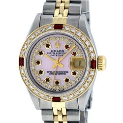 Rolex Ladies 2 Tone 14K Pink MOP Diamond & String Ruby Datejust Wristwatch