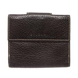Bvlgari Black Leather Snap Closure Compact Wallet