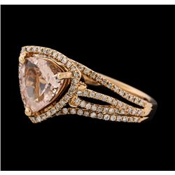 1.53 ctw Morganite and Diamond Ring - 14KT Rose Gold