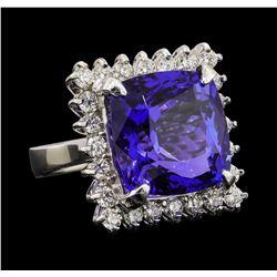 GIA Cert 17.69 ctw Tanzanite and Diamond Ring - 14KT White Gold