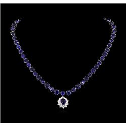 50.00 ctw Blue Sapphire and Diamond Necklace - 14KT White Gold