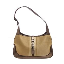 Gucci Metallic Gold Canvas Leather Jackie Shoulder Bag
