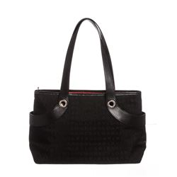 Bvlgari Black Monogram Fabric Leather Tote Bag