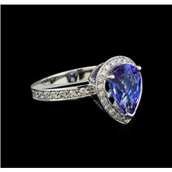 2.90 ctw Tanzanite and Diamond Ring - 14KT White Gold