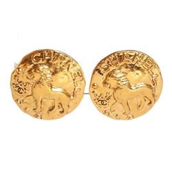 Chanel Gold CC Lion Large Disc Clip On Earrings