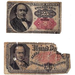 Lot (2) Fractional Notes 1874 & 1875